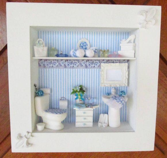 Quadro em mdf , pintado em branco, aplicação de decoupagem em tom de azul . faixa decorativa formando um composê, pia e vaso sanitário de cerâmica branca , cômoda de madeira pintada de branco , espelho de resina , flores importadas, toalhas feito à mão e acessórios de resina. POR SER UM PRODUTO TOTALMENTE ARTESANAL , PODERÁ OCORRER ALGUMA ALTERAÇÃO NA DECORAÇÃO. Aceito encomenda com a cor de sua preferência ! Para comprar: 1 - Cadastre-se e entre com seu usuário e senha. 2 - Selecione ...