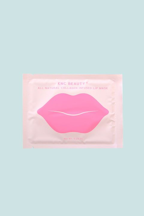 5 Lip Gel Patches That Plump Things Up *Naturally* KNC Beauty All Natural Collagen Infused Lip Mask If you're a stickler for ingredient lists, you'll be impressed by this all-natural elixir infused with bitter cherry extract, rose flower oil, vitamin E, and lots o' hyaluronic acid. The first beauty offering from KNC Beauty founder Kristen Noel Crawley, Kim Kardashian is already a devoted fan. KNC Beauty All Natural Collagen Infused Lip Mask (5 Pack), $24.99; kncbeauty.com.