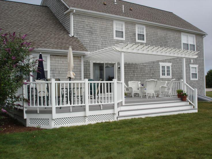 attached white pergola on coastal home pergolas. Black Bedroom Furniture Sets. Home Design Ideas