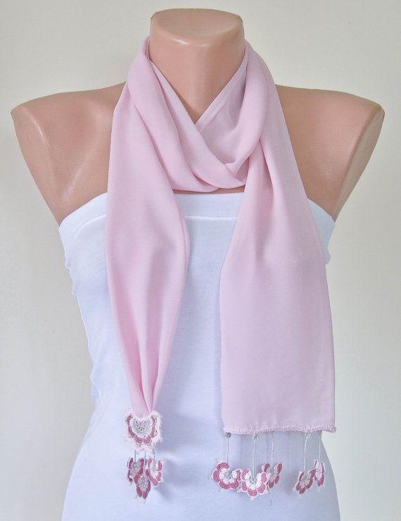 Pink Silk Wrap Scarf Turkish Lace Scarf Oya Beaded by ReddApple