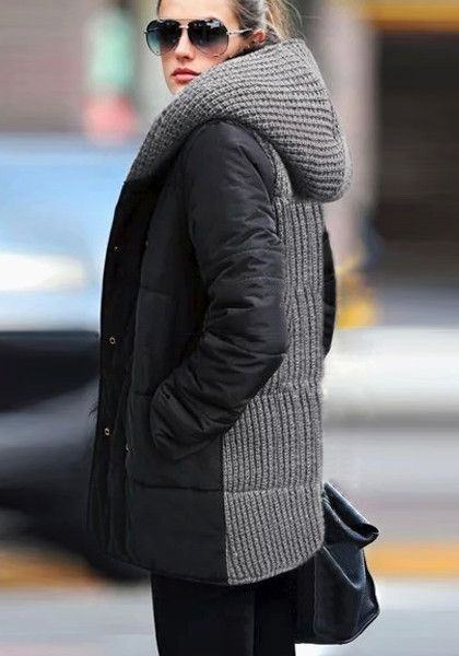 Double-Breasted Down Coat - Side Closure Black Coat