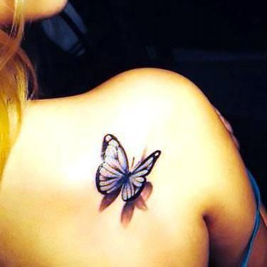 3D Butterfly on the Shoulder Tattoo Idea