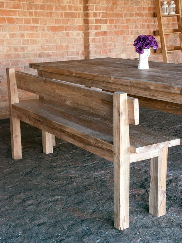 table benches kitchen reclaimed teak bench with back storage for sale