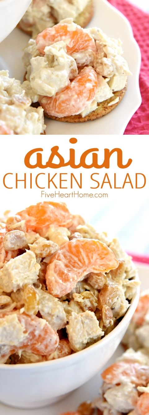 Asian Chicken Salad ~ flavored with fresh ginger and lightly sweetened with honey, this Asian spin on Sonoma Chicken Salad features juicy mandarin oranges and salty, crunchy peanuts | FiveHeartHome.com