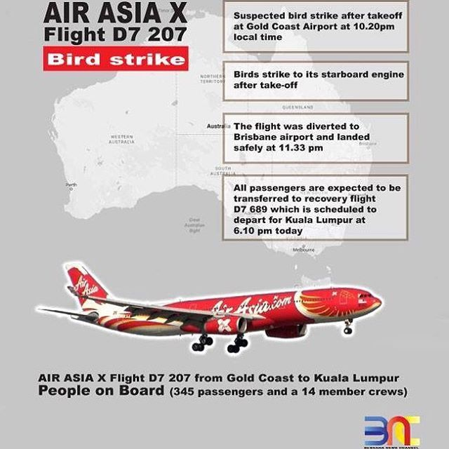 AirAsia X Bhd's flight D7 207 bound for Kuala Lumpur from Gold Coast was diverted after experiencing a suspected bird strike to its starboard engine after take-off yesterday. . . #Infographic  #AirAsia #D7207