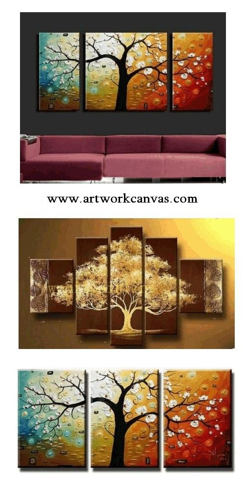 3 Piece Abstract Art Tree Of Life Painting Canvas Large Oil Living Room Wall Contemporary Huge In 2019