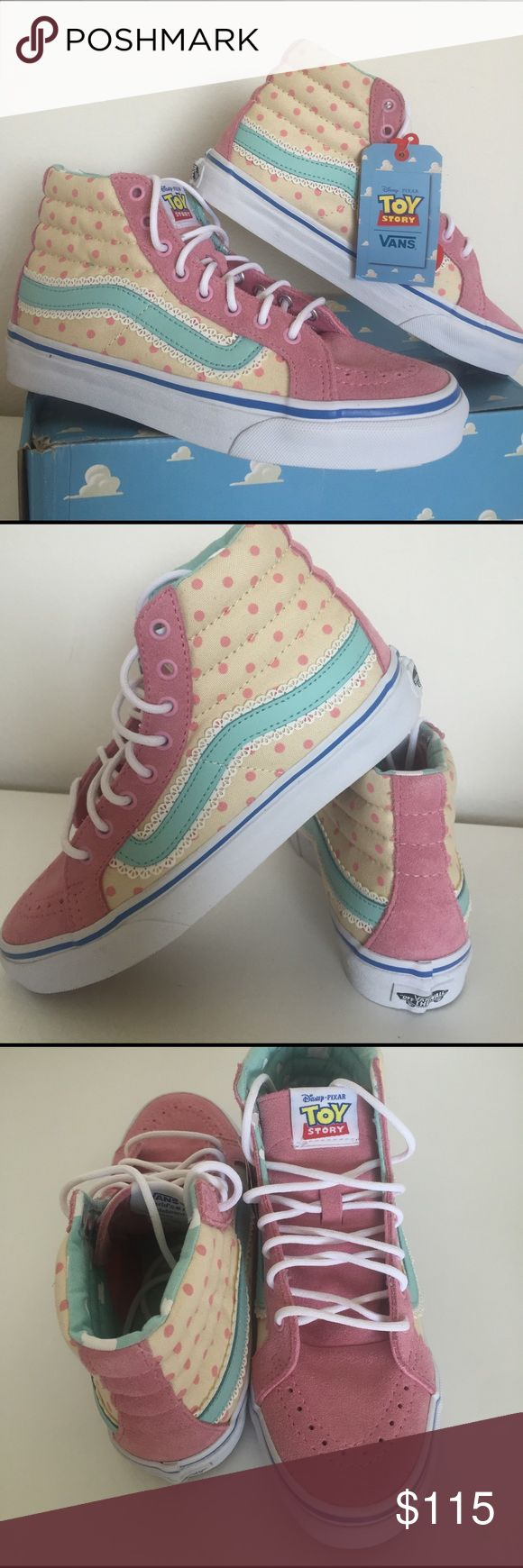 💕ADORABLE💕 Toy Story Bo Peep High Top Vans NEW 💕Superrrr ADORABLE💕 Disney Pixar Toy Story BO PEEP high top Vans. Inspired by Woody's GF, these Bo Peep high top profile shoes feature a pink suede upper, cream and pink polka dot canvas side walls, and a baby blue leather Vans stripe with lace trim. The padded high top collar and lining is just like the wallpaper in Andy's room. No Vans shoe would be complete without the signature waffle tread grip, and the addition of a micro waffle…