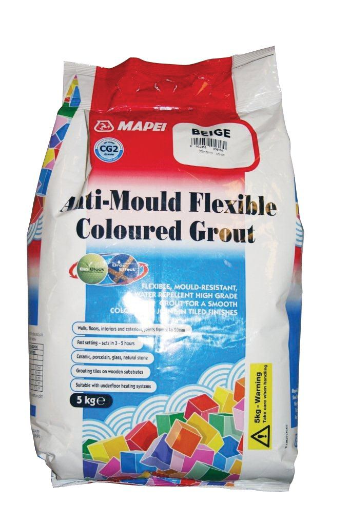 Mapei Grey Anti-Mould Flexible Grout (W)5kg | Departments | DIY at B&Q