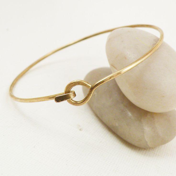 Hammered Bangle Bracelet Hook and Latch Minimalist Brass Jewelry - Hooked Up. $24.00, via Etsy.