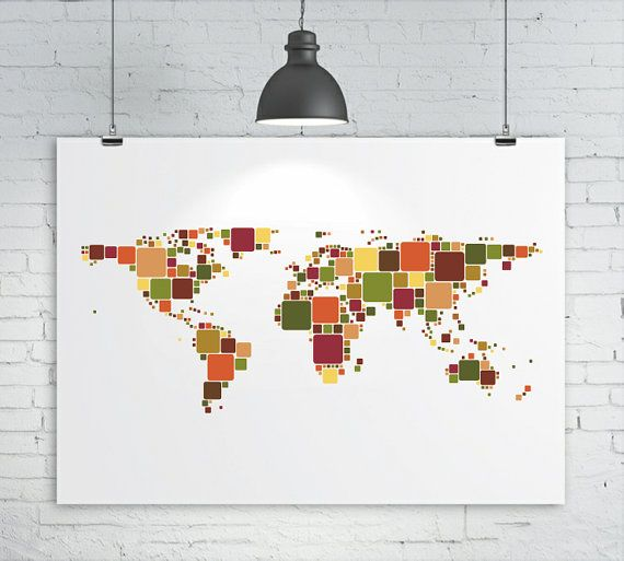 World Map Print - Geometric Squares Abstract Map of the World, Map Art Print Poster    This is my abstract design of a world map formed with different