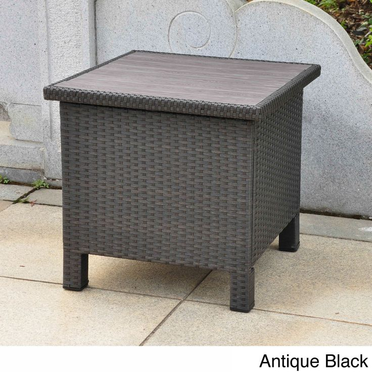 International Caravan Barcelona Contemporary Resin Wicker/Aluminum Outdoor Storage Side Table (Antique B