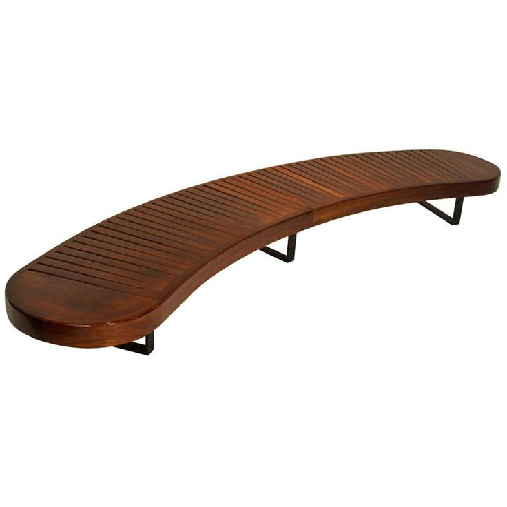 Carlo Hauner Curved Brazilian Hardwood Bench from Brazil | From a unique collection of antique and modern benches at http://www.1stdibs.com/furniture/seating/benches/