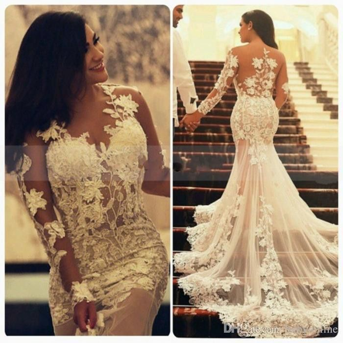 Sexy Mermaid Lace Wedding Dresses African Long Sleeves Crew Neck Appliques Ruffles Vintage Arabic Wedding Party Gowns. FREE SHIPPING