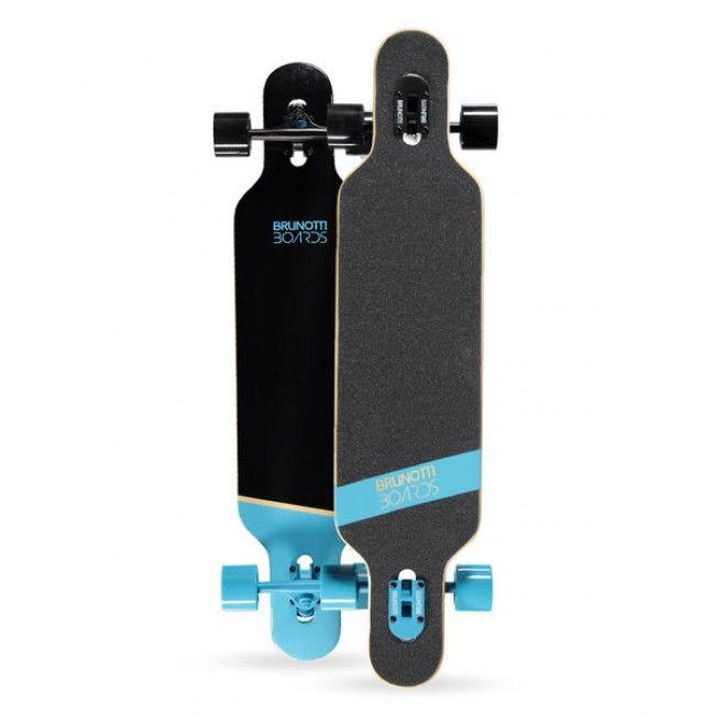 """2015 Brunotti Bob Longboard - Blue Het ultieme longboard skateboard. Dankzij het """"droptrough deck"""" heeft het board een zeer laag zwaartepunt. Dit maakt het ideaal voor Downhilling en sliding. Door de dat het board aan beide kanten een Kicktail heeft is hij ook geschikt voor freestyle tricks."""