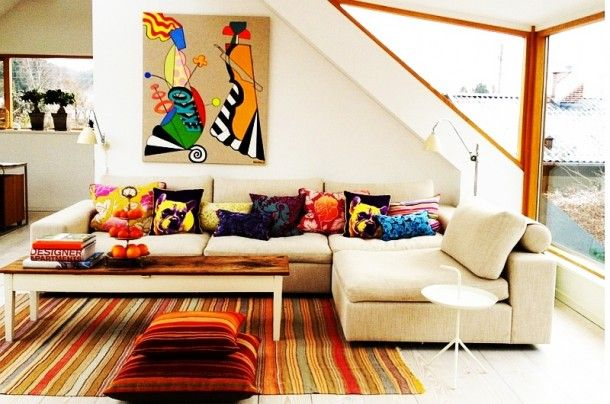 Furniture - Ordinary Sofa Filled With Accent Pillows Colored And Patterned In Various Concept To Match Colorful Room Theme: Creative Sofa Design Ideas for Your Modern Living Room