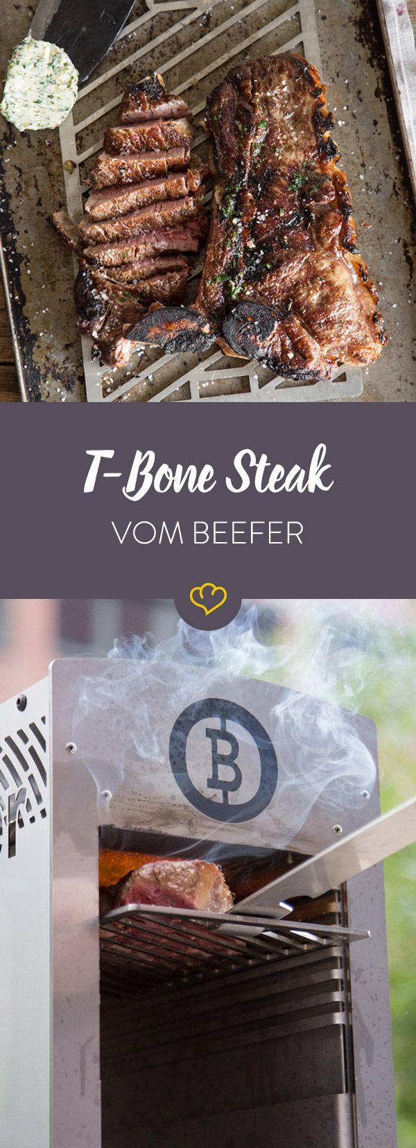 Für perfekten Fleischgeschmack braucht es nicht viel. Ein dickes T-Bone Steak, selbstgemachte Kräuterbutter und 800 °C aus dem Beefer Pro!