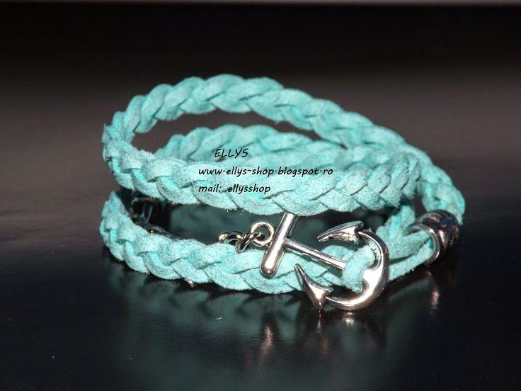Ellys Shop: Bratara tripla, impletita bleu- turcoaz si accesor...