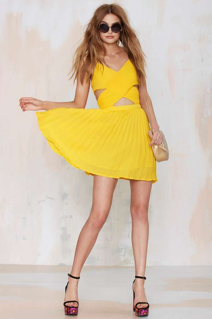 Glamorous Favorite Ex Crossover Dress - Yellow - Going Out | Fit-n-Flare