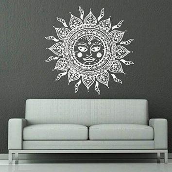 Wall Decals Sun Moon Crescent Dual Ethnic Stars Night Symbol Sunshine Wall Vinyl Decal Stickers Bedroom