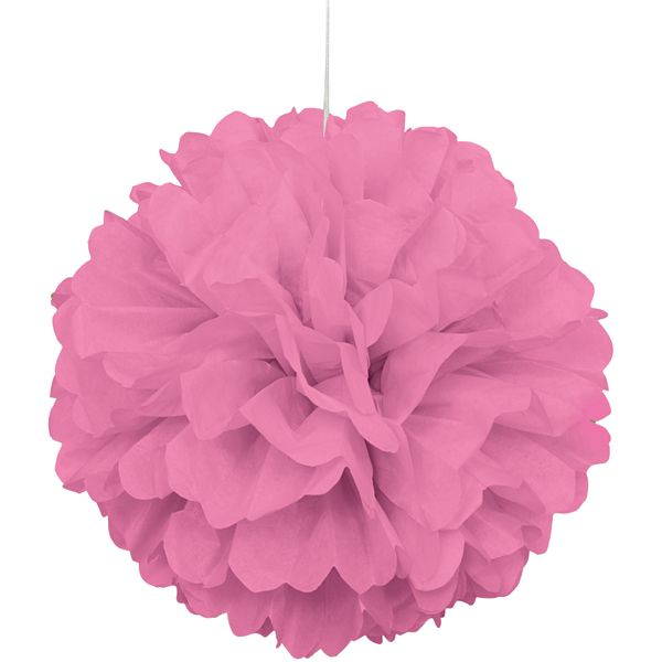 Party Souq - Pink Puff Ball Tissue Decoration|1 pc, $ 8.02