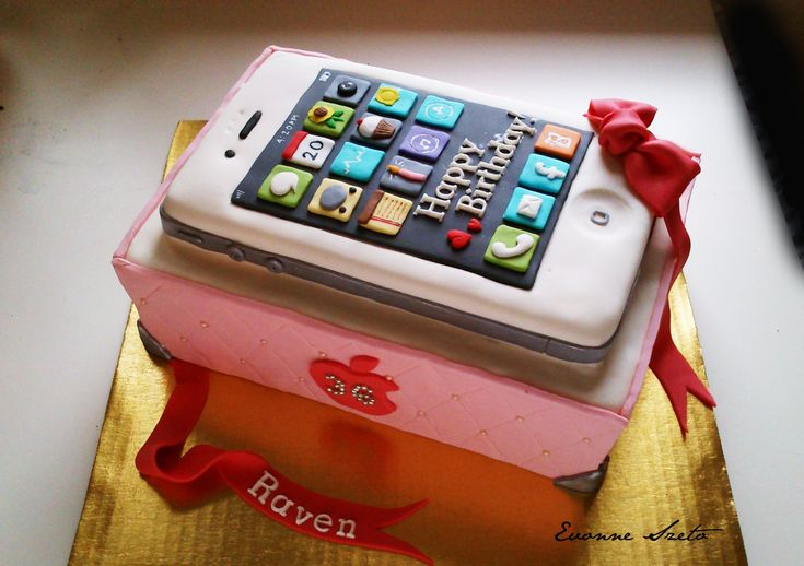 sweet from the heart: Iphone Cake, Mega Man Cake, Lavender and Black Giftbox Cake