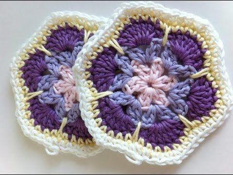 Granny square de forma hexagonal tipo flor africana (Lanas y ovillos)