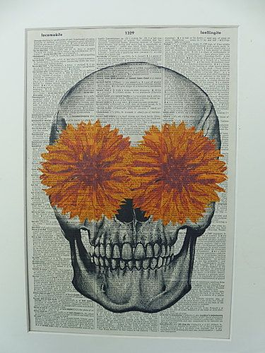 Skull with Orange Flowers Dictionary Wall Art by DecorisDesigns