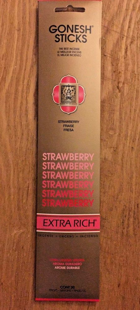 GONESH INCENSE STICKS EXTRA RICH STRAWBERRY INCENSE 2 PACK 40 STICKS  #Gonesh
