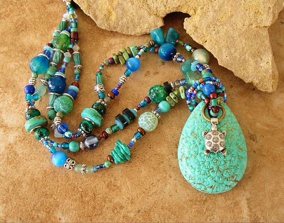 Boho Necklace, Sea Turtle Jewelry, Colorful Beadwork Necklace, Turquoise Jewelry, Deep Ocean Colors, Bohemian Fashion, Pendant Necklace