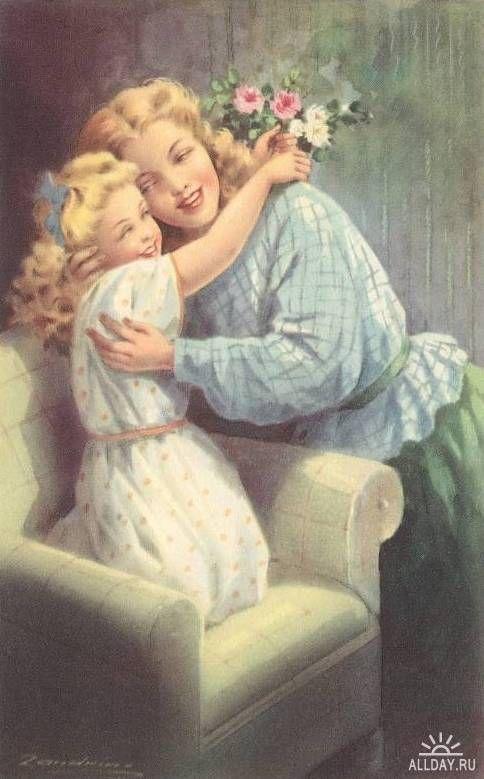 Винтаж для мамы открытки, для папы