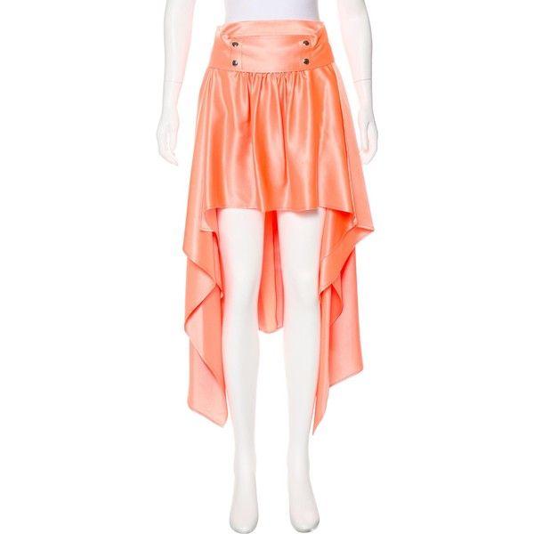 Pre-owned Sies Marjan 2017 Silk Skirt ($495) ❤ liked on Polyvore featuring skirts, orange, orange skirt, orange high low skirt, red hi low skirt, sash belt and red skirt