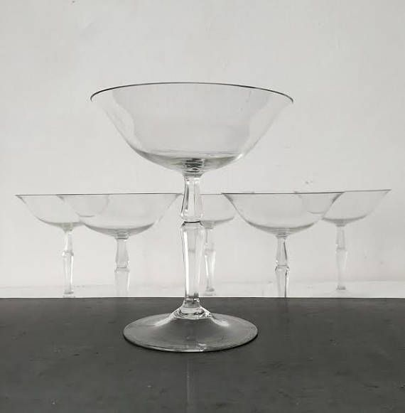 SET 6 Vintage Champagne Coupes / Hand Blown Crystal Saucers / Perfect Condition / Elegant Wedding or Host-Hostess Gift