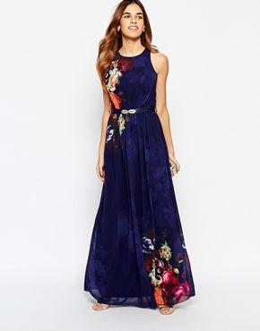 Enlarge Little Mistress Mirror Floral Belted Maxi Dress