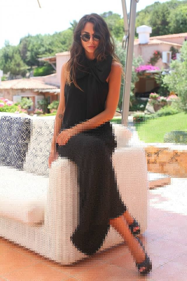 Chiara Biasi and her LIST black long dress