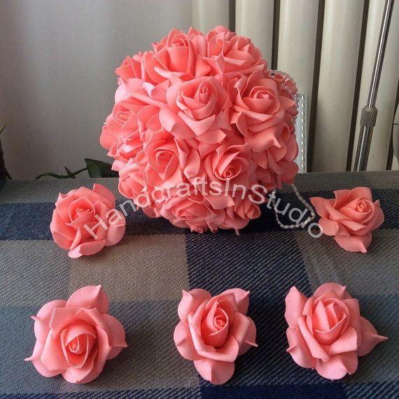 Fiori di corallo matrimonio 100pcs schiuma rosa teste per baciare le palle…
