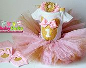 primer cumpleaños de rosa y oro traje, atuendo de cumpleaños, atuendo de chica de cumpleaños, cumpleaños rosa tutú, tutú rosa, traje de minnie mouse