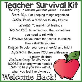teacher survival kit card