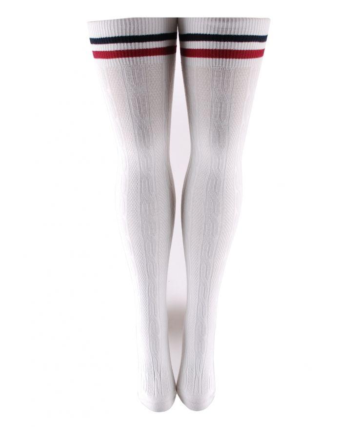 Beyaz Saç Örgü Diz Üstü Çizgi Detaylı Çorap