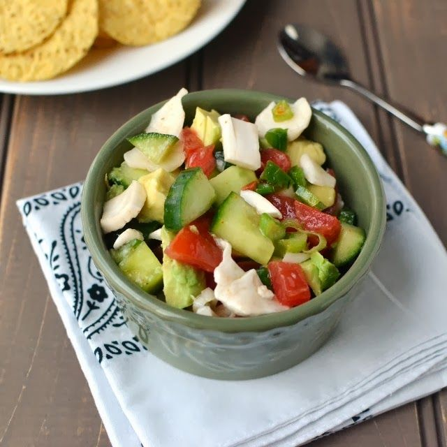 Coconut Ceviche Ingredients:  Young Coconut-1;Lime juiced - 2tbsp; Orange juice - 1tbsp;Green Onions - 2, chopped;   Tomato - 1 medium, chopped;Cucumber - 1 small, diced;Jalapeno - 1 small, chopped;   Bell Pepper - 1tbsp, chopped; Avocado - ½ -1, chopped; Parsley - 2tbsp, chopped;  Cilantro - 1tbsp, chopped;Cayenne & Salt  to taste   Mix together, top w. avocado