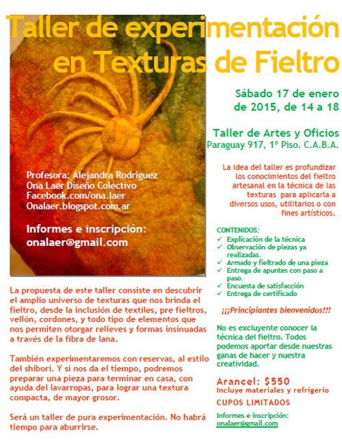 Nuevo Taller de Experimentación en Texturas de Fieltro .Enero 2015