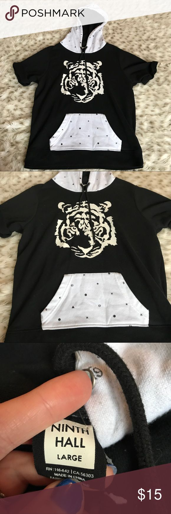 Ninth hall short sleeve Hoodie Tiger Ninth hall black and white short sleeve hoodie. Size large. Tiger on the front. Printed hood. Has some piling. Overall good condition! ninth hall Shirts