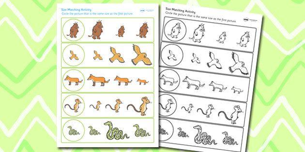Gruffalo Themed Size Matching Worksheet