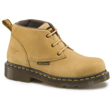 The stylish Dr Martens Izzy ST Ladies 3 Eyelet Boot is an anti-static safety chukka boot featuring a fully air-cushioned sole unit and designed for women's feet. the Smartmask PU-cushioned footbed offers additional comfort, whilst the dual density PVC patterned sole is heat-sealed and benefits from a wooden shank for improved mid-foot rigidity.