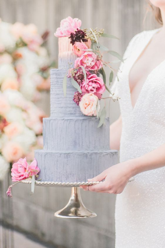 Gorgeous Peach and Grey Ombre Cake by Whipped. Cake + Confections