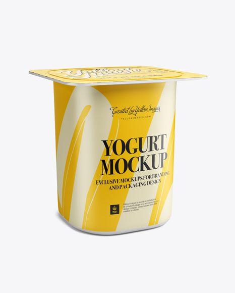 Yogurt Packaging Mockup - Half-Side View. Preview