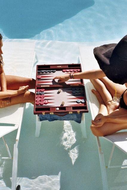 summer by the pool~Pools Games, Plays Backgammon, Boards Games, Bricks Blog, Poolside Backgammon, Summertime, Hello Summer, Summer Time, Poolside Editorial