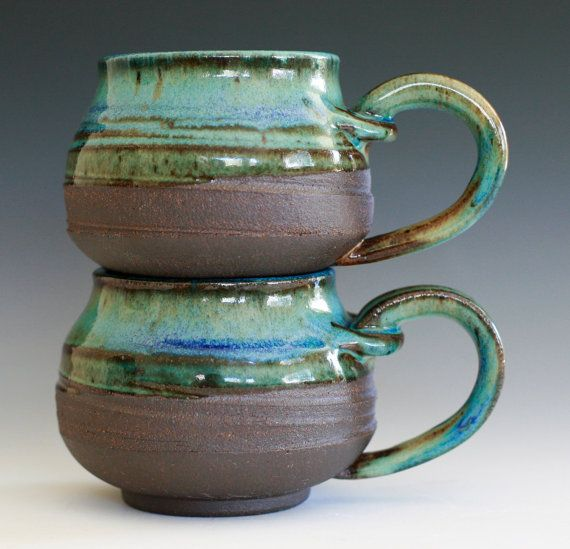 Pair of Coffee Mugs handmade ceramic cups ceramic by ocpottery, $40.00