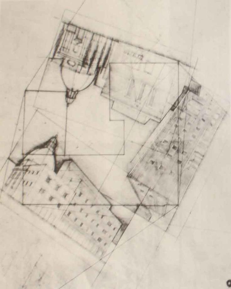 Concorso per la sede dell'Economia Corporativa a Pesaro, Mario Ridolfi, Arquitecte (1932), Estudi perspectiva de les tres façanes sobre la planimetria del lloc.