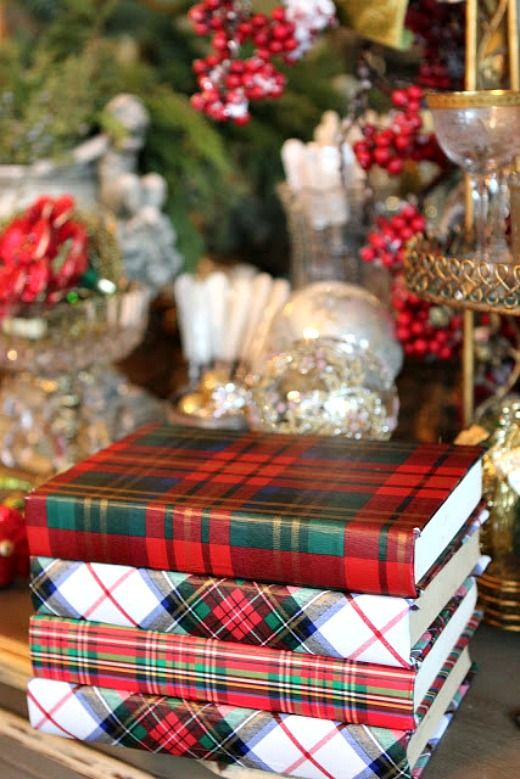 Wrap a few book with plaid wrapping paper to add a touch of plaid to any room.: