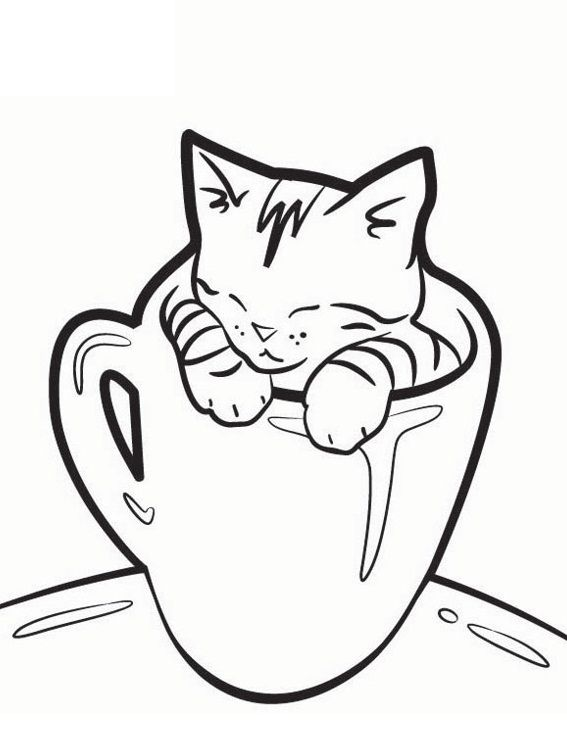 Cat In Glasses Coloring Pages For Kids Yc Printable Cats Coloring Pages For Kids Cat Coloring Book Kitten Drawing Kittens Coloring